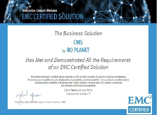 Planet Group International Emc Certified Award For Cms Solution